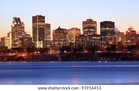 Montreal skyline at dusk, Canada