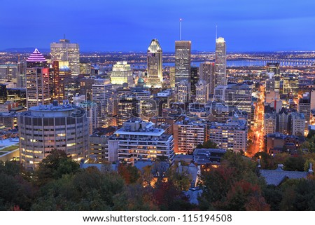 Montreal skyline at dusk in autumn, Canada