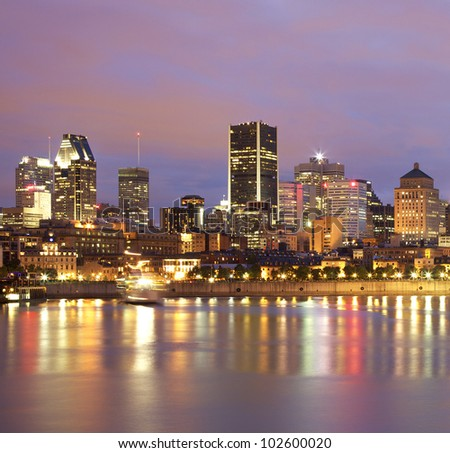 Montreal skyline at dusk, Saint Lawrence River