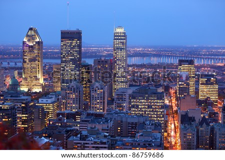 Montreal skyline by night. Dusk cityscape image of Montreal downtown, Quebec, Canada.