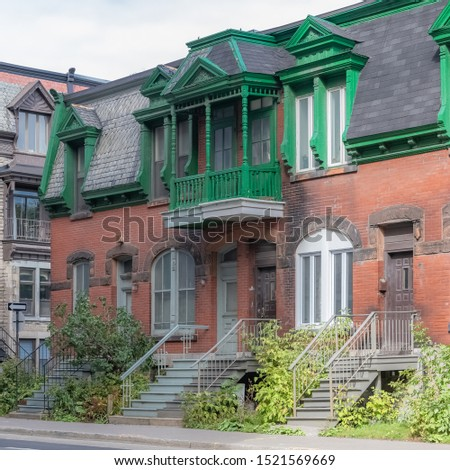 Montreal, typical victorian home with exterior staircase in the Plateau Mont-Royal district