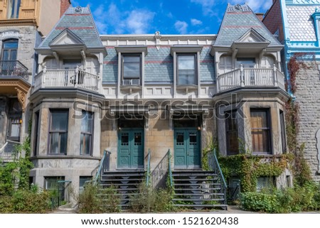 Montreal, typical victorian house with exterior staircase in the Plateau Mont-Royal district