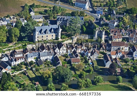 Montresor, France, aerial view #668197336