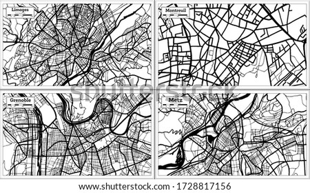 Montreuil, Grenoble, Metz and Limoges France City Maps Set in Black and White Color in Retro Style. Outline Map. Photo stock ©