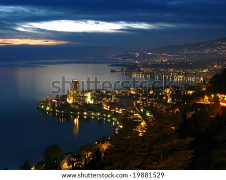 Montreux and swiss riviera from Glion, Switzerland