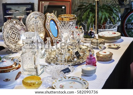 Montreux Switzerland May 25 2013 Antiques Put On Sale At The