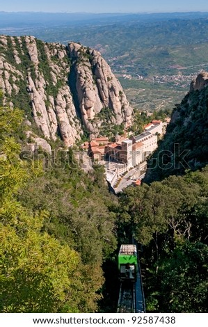 Montserrat Monastery and mountain cable car - Benedictine Abbey high up in the mountains, Barcelona, Spain
