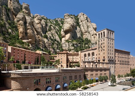 Montserrat Monastery is a beautiful Benedictine Abbey high up in the mountains near Barcelona, Catalonia, Spain.