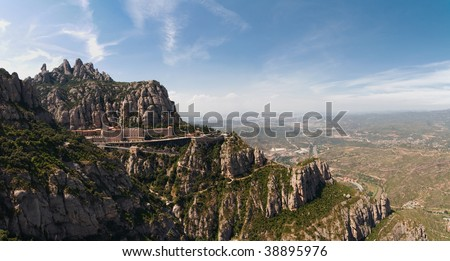 Montserrat Monastery is a spectacularly beautiful Benedictine Abbey high up in the mountains near Barcelona, Catalonia, Spain.
