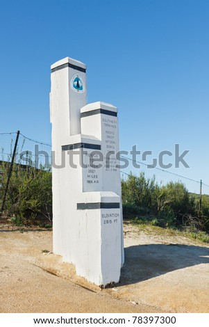 Monument at the Southern Terminus of the Pacific Crest Trail (PCT) at the US/Mexico Border near Campo, California, USA