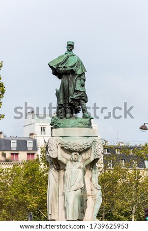 Monument au Marechal Gallieni  directed the pacification of the French Sudan and Madagascar, near Les Invalides by artist Jean Boucher in Paris, France Photo stock ©