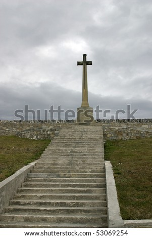 Monument cross for death British soldiers in Falkland war - Port Stanley cemetary - stock photo