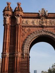Monument in Barcelona. The arc de triomphe in the center of barcelona. triumphal arch close up. Arc de triomf