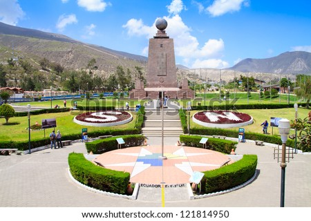 Monument Mitad del Mundo near Quito in Ecuador - stock photo