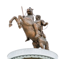 Monument of Alexander the Great in Skopje isolated on white background