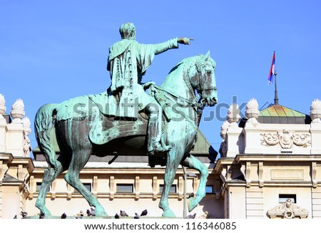 Monument of Duke Mihailo Obrenovic Belgrade Serbia - stock photo