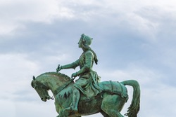 Monument of Jeanne d'Arc (Joan of Arc) on Place du Martroi in the center of Orleans in France