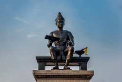 Monument of King Ramkhamhaeng the Great in Sukhothai historical park, Thailand.