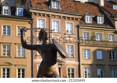 Monument of Mermaid - symbol of Warsaw