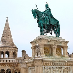 monument of Saint Stephen - the first king of Hungary in front of Fisherman's Bastion in in Buda Castle, Budapest, Hungary. Square image