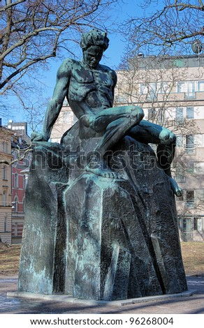 Monument of swedish playwright August Strindberg in Tegnerlunden park of Stockholm, Sweden