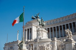 Monument of Vittorio Emmanuel on Venice Square in Rome Italy, blue sky.