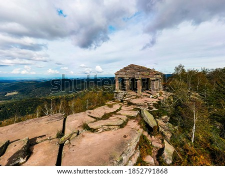 Monument on the Donon mountain peak in the Vosges. Historic sacred place where the rituals of the Celts and Proto-Celts took place. France. Stock photo ©