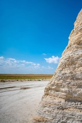 Monument Rocks in Grove County, Kansas. The chalk rock formation is a listed National Natural Landmark.