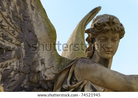 Monument to an angel on a cemetery. Since its creation in 1787 Lychakiv Cemetery Lvov, Ukraine