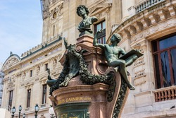 Monument to Charles Garnier, the architect of Paris Grand Opera (Garnier Palace). Opera is famous neo-baroque building in Paris - UNESCO World Heritage Site. France.