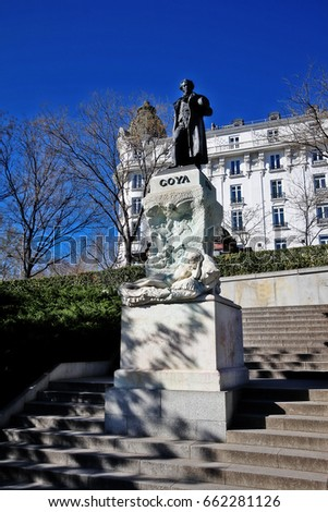 Monument to Francisco de Goya (Estatua de Goya), by sculptor Mariano Benlliure, on beside the Goya Gate in the north facade of Prado Museum (Museo Nacional del Prado) in central Madrid, Spain
