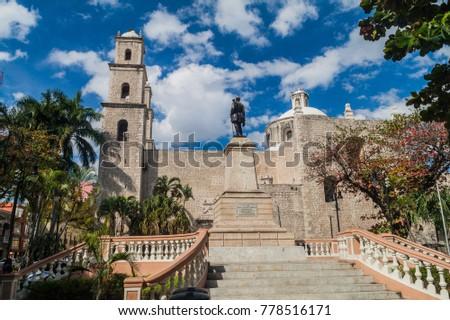 Shutterstock Monument to General Manuel Cepeda Peraza and Iglesia de Jesus church in Merida, Mexico