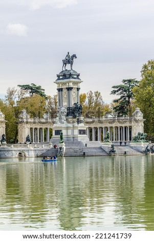 Monument to King Alfonso XII (designer Jose Grases Riera, 1922) in Parque del Buen Retiro. Buen Retiro Park - one of largest parks of Madrid City. Spain.