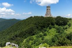 Monument to Liberty Shipka and landscape to Stara Planina (Balkan) Mountain, Stara Zagora Region, Bulgaria