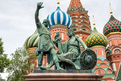 Monument to Minin and Pozharsky, a bronze statue on Red Square in Moscow, Russia, in front of Cathedral of Vasily the Blessed, or Saint Basil's Cathedral, regarded as a symbol of the country.