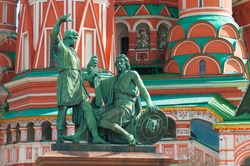 Monument to Minin and Pozharsky on Red Square in Moscow, Russia