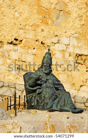 Monument to Papa Luna, outside of Peniscola Castle, in Valencia, Spain