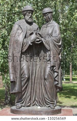 Monument to Peter and Fevronia Murom in Irkutsk, represents faith, hope, love #110256569