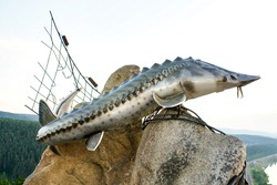 Monument to sturgeon fish living in the Yenisei River. Dedicated to the story of the writer Astaviev