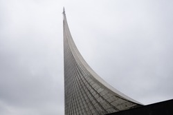 Monument to the Conquerors of Space in Moscow on an overcast day in autumn fragment