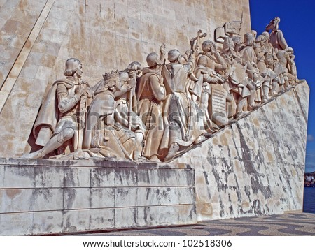 Monument to the Discoveries on the north bank of the River Tagus in Lisbon, Portugal