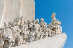 Monument to the Discoveries (Padrao dos Descobrimentos) celebrating the Portuguese Age of Discovery during the 15th and 16th centuries. The monument looks over the Tagus River in Lisbon, Portugal.