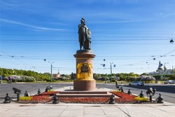 Monument to the Russian commander Generalissimo 18th century Alexander Suvorov in St. Petersburg. Russia
