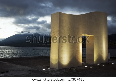 Monument to whalers by portuguese artist Pedro Cabrita Reis in Lages do Pico, Pico island, Azores, Portugal - stock photo