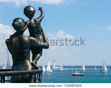 Monument to wife sailor in sea port Odessa, Ukraine #733685665