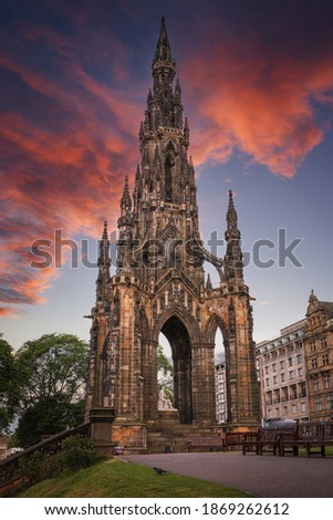 Monument to writer Walter Scott in Edinburgh, Scotland, UK ストックフォト ©
