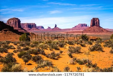 Monument Valley and the Mittens rock formations on a beautiful day, Arizona-USA