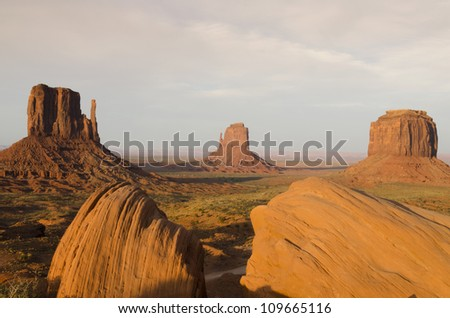 Monument Valley at sunset in Utah in the United States of America
