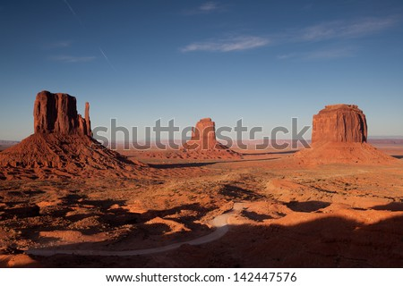 Monument valley during sunset