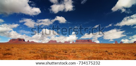 Monument Valley epic scenic nature panoramic landscape on the border between Arizona and Utah in United States.  #734175232
